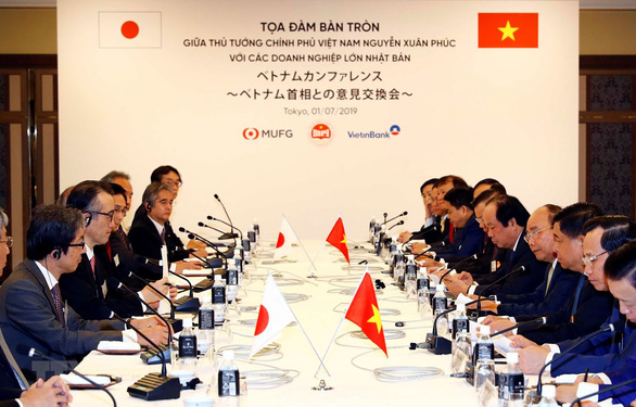 Vietnamese Prime Minister Nguyen Xuan Phuc and his delegation convene a meeting representative of major Japanese businesses in Tokyo on July 1, 2019. Photo: Vietnam News Agency