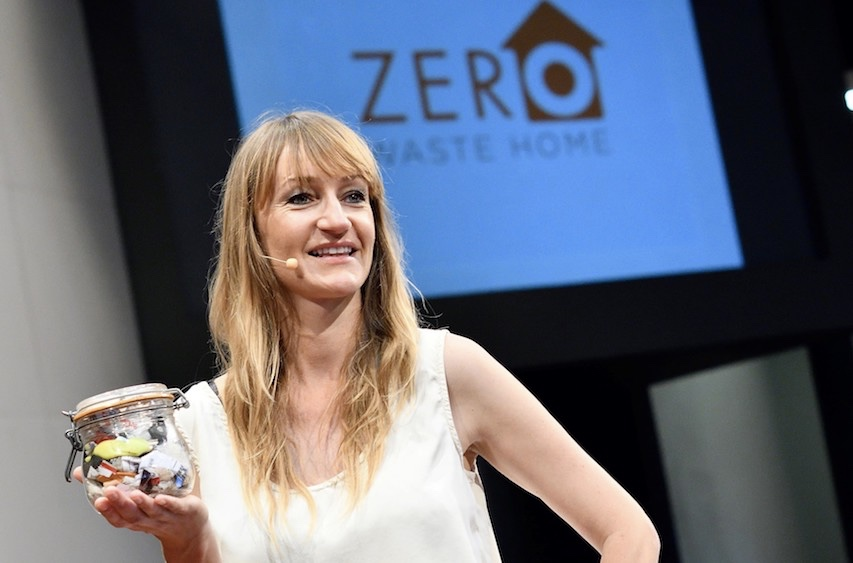 Bea Johnson holds a jar containing her family's year-worth of waste. Photo: Zero Waste Home