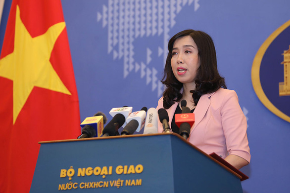 Le Thi Thu Hang, the Vietnamese foreign ministry's spokesperson, speaks at a conference in Hanoi, July 19, 2019. Photo: Viet Dung / Tuoi Tre