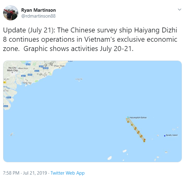 A Twitter post by Prof. Ryan Martinson updating on the location of Chinese survey ship Haiyang Dizhi 8 on July 20-21, 2019.