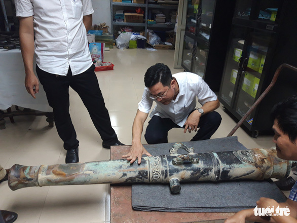 The ancient cannon is preserved for research and study at the Museum of Da Nang, central Vietnam. Photo: Doan Nhan / Tuoi Tre