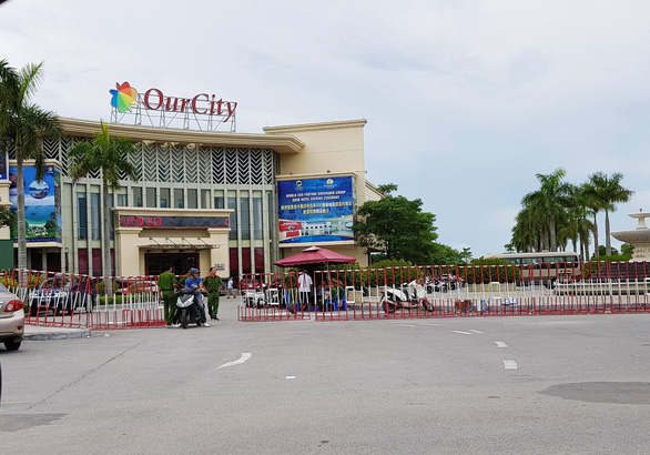 Police barricade the Our City Urban Area in Duong Kinh District, located in the northern Vietnamese city of Hai Phong,