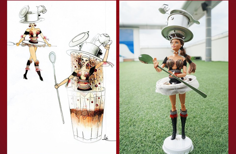 "The ""Cafe Phin sua da"" (Vietnamese style brew coffee with milk and ice) design by Tran Nguyen Minh Duc is seen in this photo uploaded on the official Facebook page of Miss Universe Vietnam"