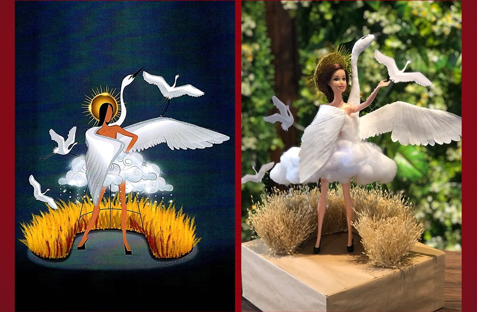 "The ""Co"" (Stork) design by Nguyen Duc Liem is seen in this photo uploaded on the official Facebook page of Miss Universe Vietnam"