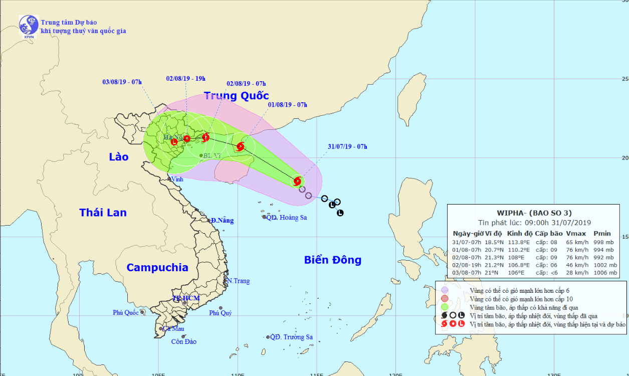 Tropical Storm Wipha heads to northern Vietnam
