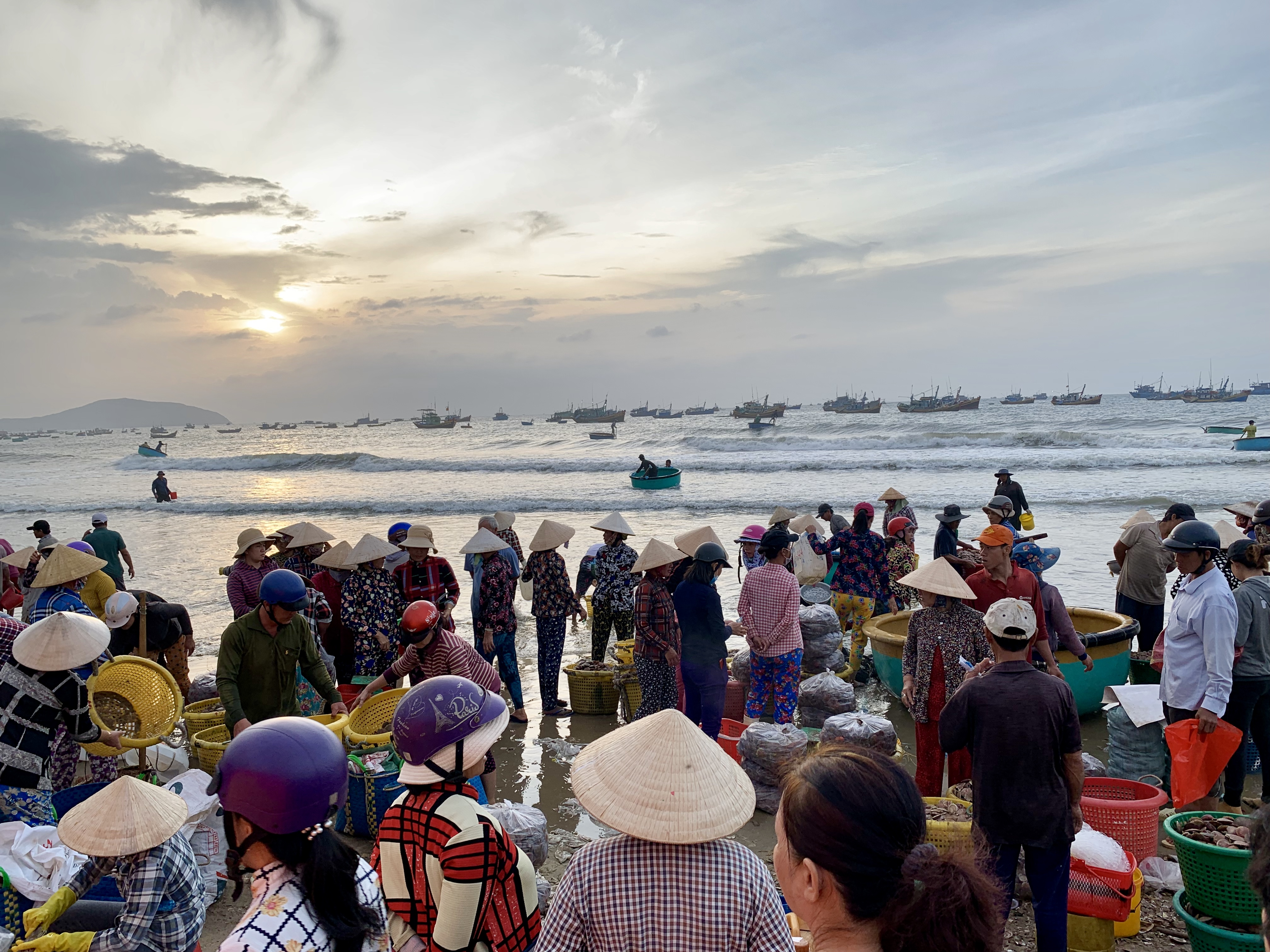 Merchants wait on a beach for fresh seafood to arrive in conical boats at a local fishing village in Mui Ne, Vietnam July 31, 2019. Photo: Tran Phuong / Tuoi Tre