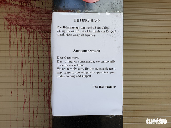 An announcement posted to the gate on Pho Hoa Pasteur restaurant in Ho Chi Minh City on August 1, 2019. Photo: Minh Hoa / Tuoi Tre