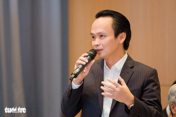 Trinh Van Quyet, chairman and general director of Bamboo Airways, speaks at a seminar in Hanoi, Vietnam August 1, 2019. Photo: T. Huyen / Tuoi Tre