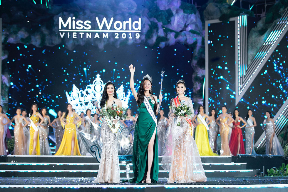Top 3 Miss World Vietnam 2019 Nguyen Hoa Kieu Loan, Luong Thuy Linh, Nguyen Tuong San (from left) are seen in this photo. Photo: supplied