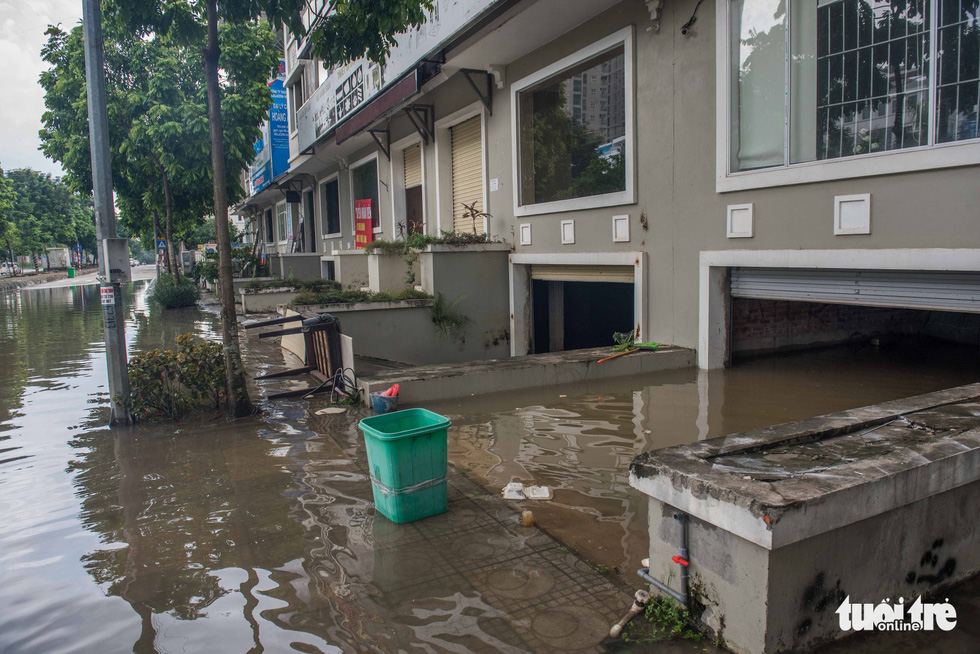 A basement is completely submerged by floodwater.