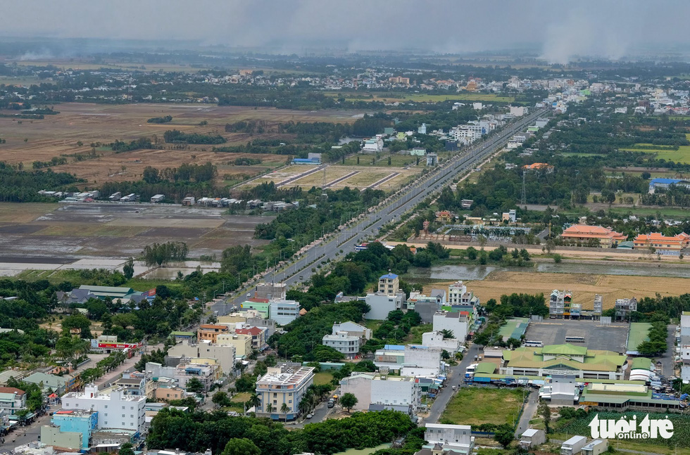 An aerial view of Chau Doc City is seen from atop Sam Mountain. Photo: Tuoi Tre