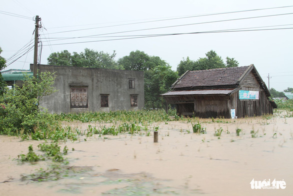 Crops and houses are submerged due to heavy rain. Photo: Tr.Tan / Tuoi Tre