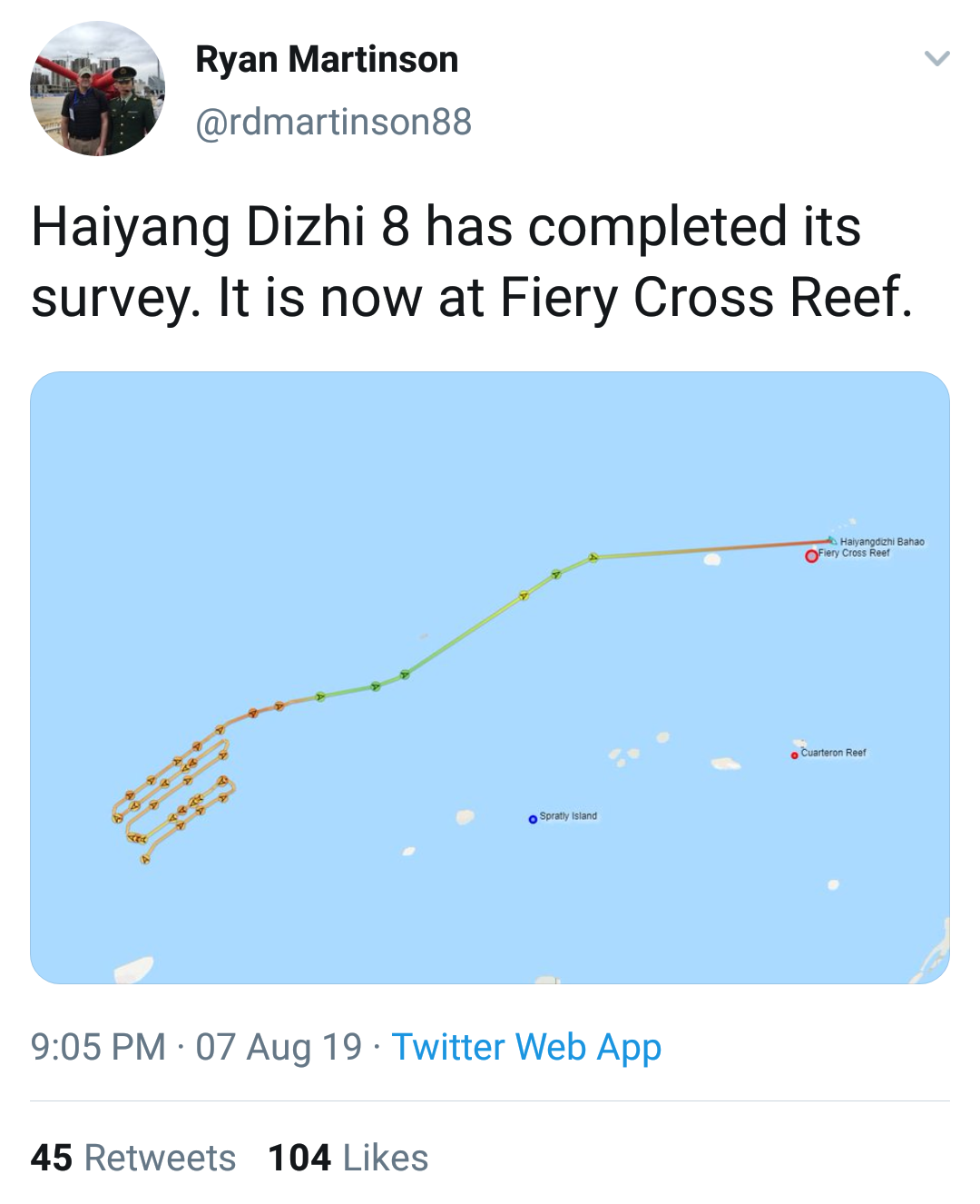 A Twitter post by Prof. Ryan Martinson showing the location and recent path of the Chinese survey ship Haiyand Dizhi 8 as of August 7, 2019.