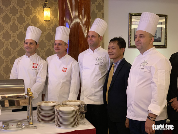 Polish chefs pose for a photo at an event in Ho Chi Minh City on August 8, 2019. Photo: Bao Duy / Tuoi Tre