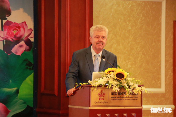 The Association of Polish Butchers and Producers of Processed Meat's vice president Piotr Ziemann speaks at an event in Ho Chi Minh City on August 8, 2019. Photo: Bao Duy / Tuoi Tre