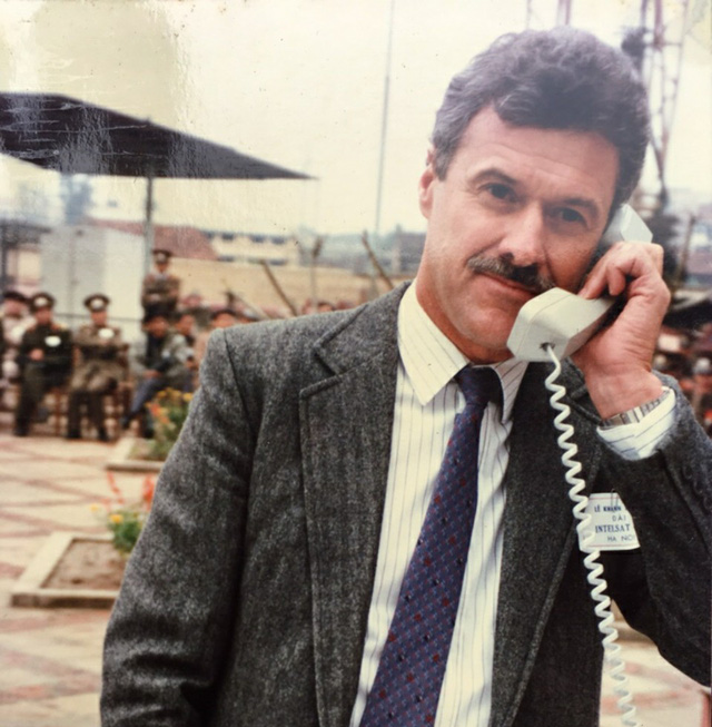 Australian Ambassador to Vietnam Graham Alliband  makes an international phone call to Australia in this file photo. Photo: Supplied
