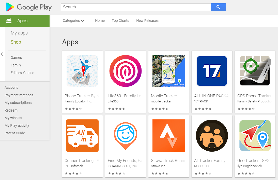 Some tracking apps available on the Google Play store are seen in this screen grab.