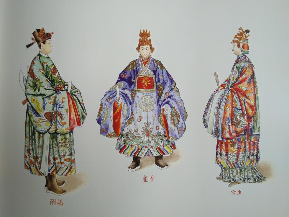 Royal costumes of the prince (mid), princess (right), and princess' husband