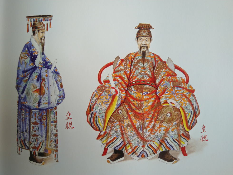 Royal costumes of imperial relatives for a courtesy meeting (right) and for a worship ceremony