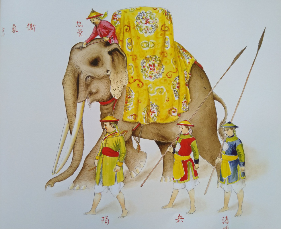 Royal costumes for elephant hammock attendants