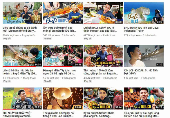 A screenshot of the home page of the Khoai Lang Thang / Food and Travel channel on YouTube