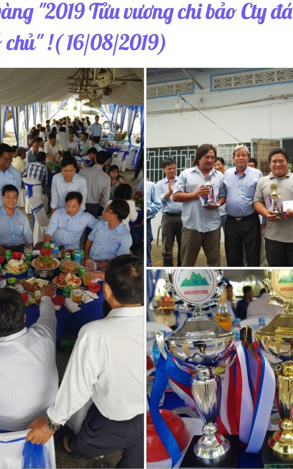 Photos capturing the drinking contest at ANTRACO in the Mekong Delta province of An Giang are uploaded on social media networking sites