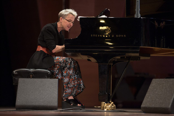 American pianist Myra Melford plays piano during an event. Photo courtesy of Soul Live Project.