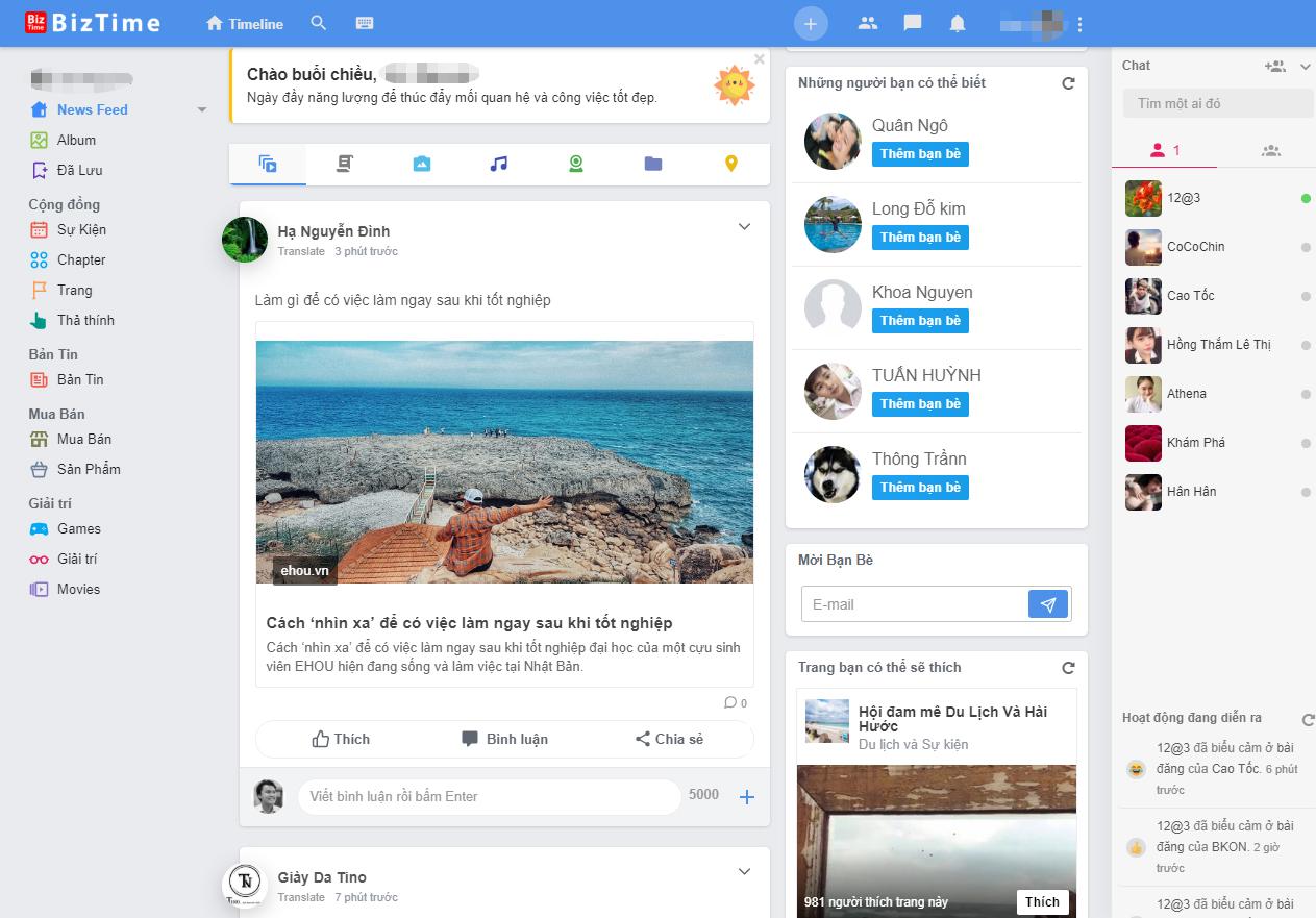 A screen grab of the interface of Biztime, a Vietnamese blockchain-base social network.