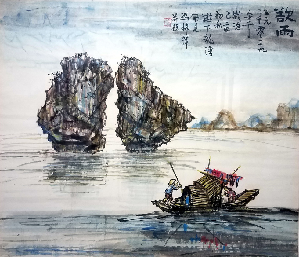 The painting Ha Long sap mua (Ha Long before rain) by artist Truong Cam Binh