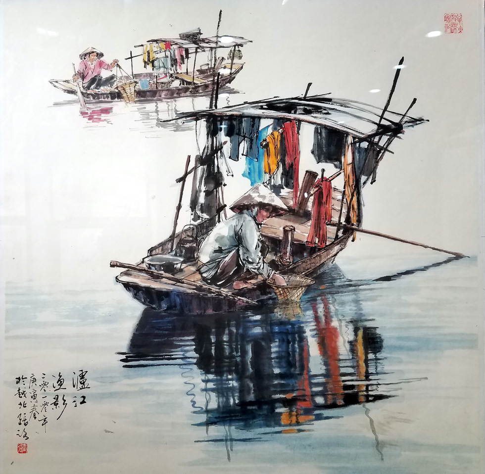 The painting Song Lo ngu anh (Fishermen on Lo River) by artist Truong Lo