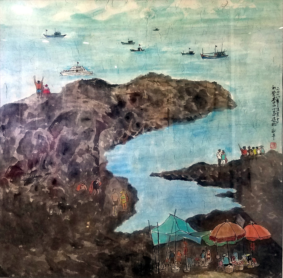 The painting Trien vong Dao Ly Son (Potential of Ly Son Island) by artist Huynh Tuan Ba