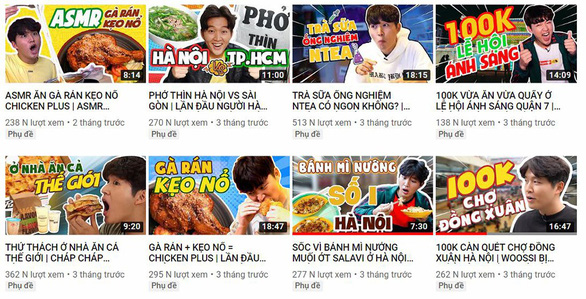 A screenshot of the main page of 'Woossi TV' YouTube channel with many videos about Vietnamese cuisine. Photo: Tuoi Tre