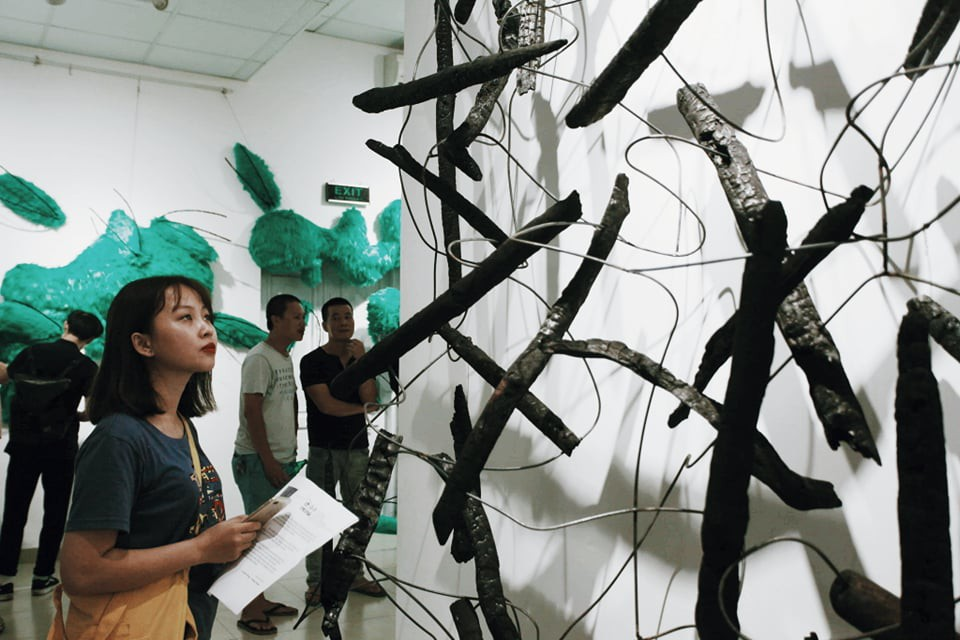 A woman admires a charcoal installation displayed at the Insect exhibition in Hanoi. Photo: Mai Thuong / Tuoi Tre