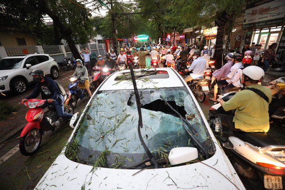 A car is damaged by fallen trees in Hanoi on August 29, 2019. Photo: Nguyen Khanh / Tuoi Tre