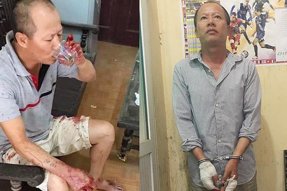 Nguyen Van Dong is pictured drinking water and being handcuffed after killing four members of his brother's family in Hanoi on September 1, 2019. Photo: Tuoi Tre