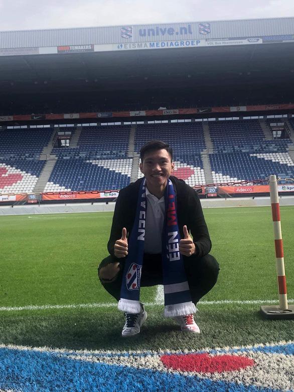 Vietnam's defender Doan Van Hau poses for a photo at Abe Lenstra Stadion, the home ground of SC Heerenveen. Photo: Hanoi FC