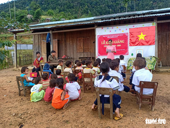 Tra Thi Thu speaks at a school-year opening ceremony in Tak Po Village, on Ngoc Linh Mountain in Quang Nam Province, central Vietnam, September 5, 2019