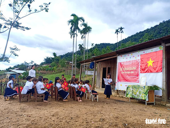 Ca Dong students attend a school-year opening ceremony in Tak Po Village, on Ngoc Linh Mountain in Quang Nam Province, central Vietnam, September 5, 2019