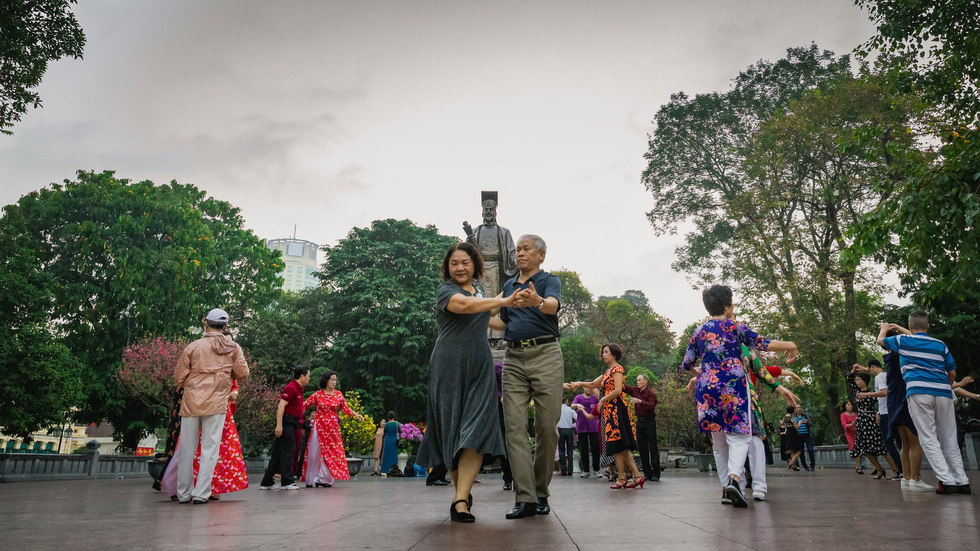 Middle-aged people join morning dance sessions in Hanoi. Photo: Hang Ross