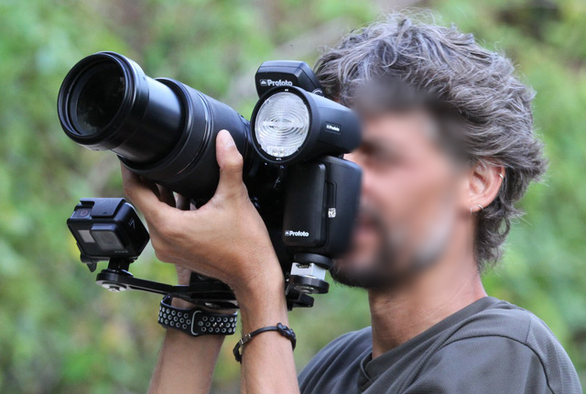 An Italian visitor is pictured using strong flashes to take photos of endangered langurs in Son Tra Peninsula in the central city of Da Nang on September 7, 2019. Photo: Dang Thu Thuy / Hoi anh vooc Son Tra
