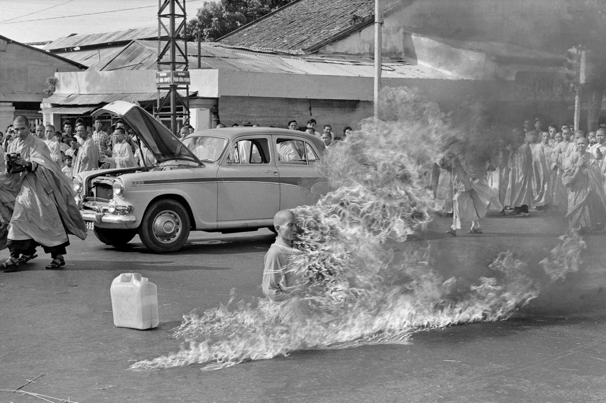 A photo by Malcolm Brown that captured the self-immolation of Buddhist monk Thich Quang Duc in Saigon on June 11, 1963.