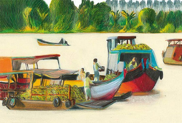 A painting features a floating market in Vietnam's Mekong Delta region by Italian artist Lorenzo Morretti. Photo: Louis Vuitton