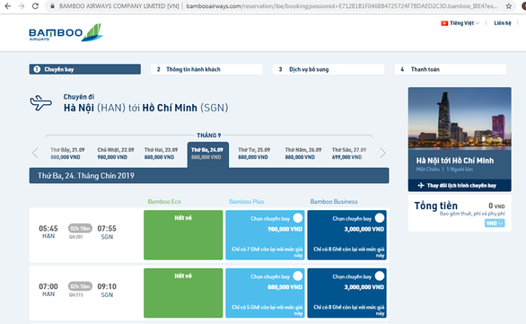 A screen grab of a booking screen on the website of Bamboo Airways.