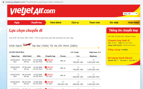 A screen grab of a booking screen on the website of Vietjet Air.