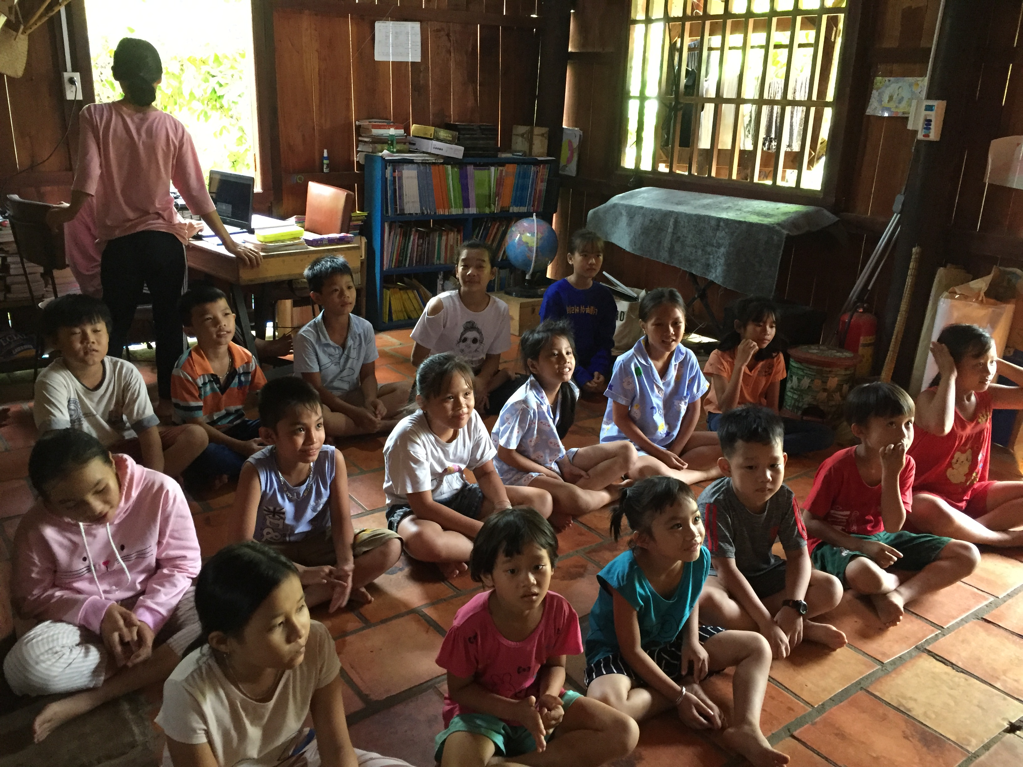 Kids learn about breathing and meditation to increase concentration for learning. Photo: Nui Tuong Education Project