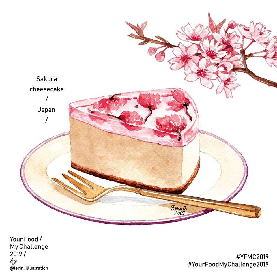 Japanese Sakura cheesecake illustrated by Le Rin