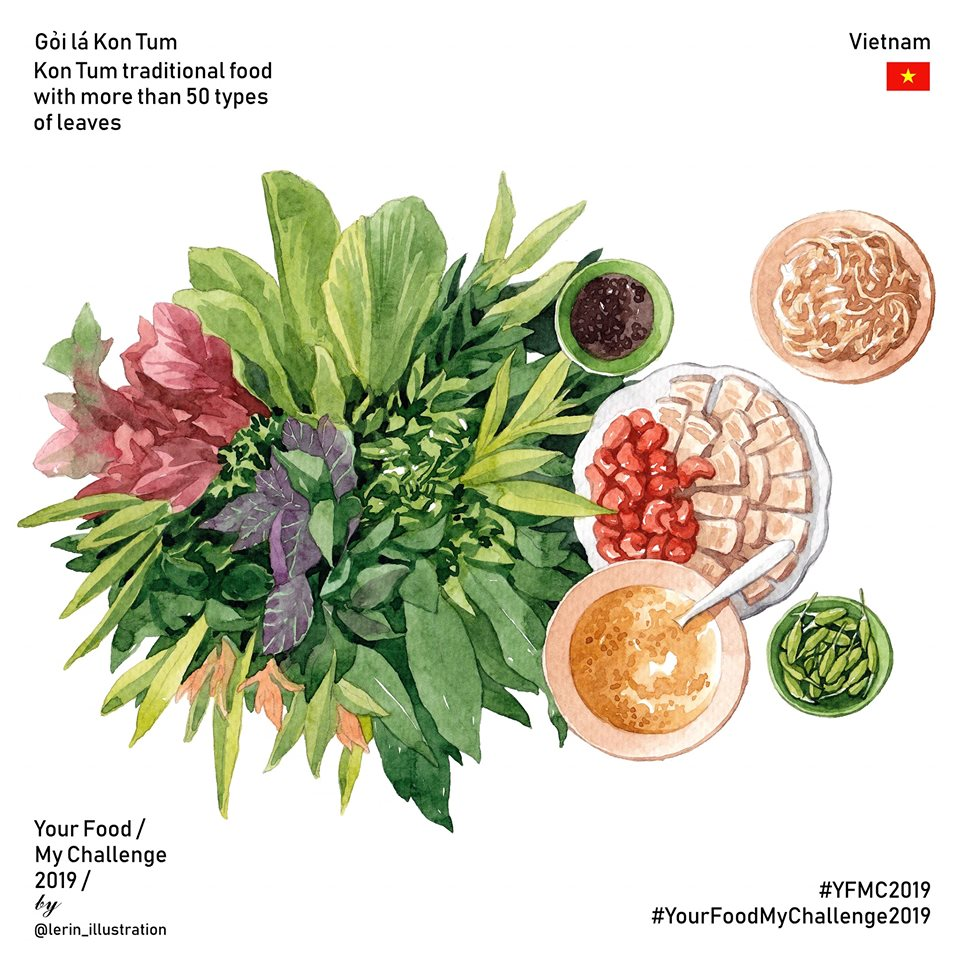 Kon Tum leave salad illustrated by Le Rin