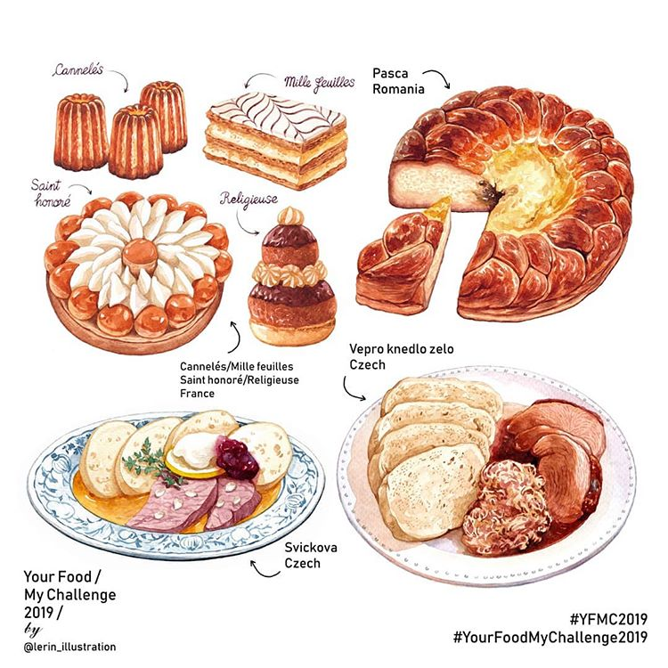 Foods from countries illustrated by Le Rin