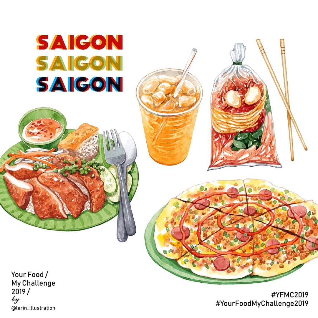Famous street foods in Saigon illustrated by Le Rin