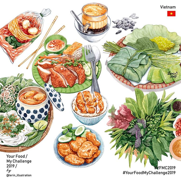 Vietnamese foods illustrated by Le Rin